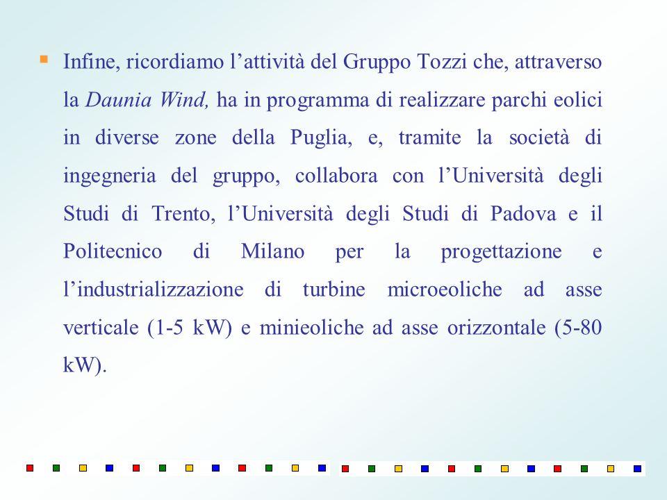 Infine, ricordiamo lattività del Gruppo Tozzi che, attraverso la Daunia Wind, ha in programma di realizzare parchi eolici in diverse zone della Puglia