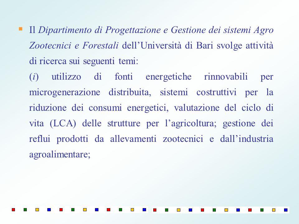 Il Dipartimento di Progettazione e Gestione dei sistemi Agro Zootecnici e Forestali dellUniversità di Bari svolge attività di ricerca sui seguenti tem