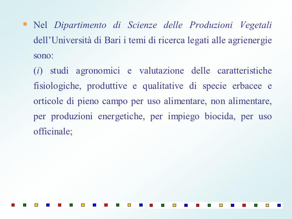 Nel Dipartimento di Scienze delle Produzioni Vegetali dellUniversità di Bari i temi di ricerca legati alle agrienergie sono: (i) studi agronomici e va
