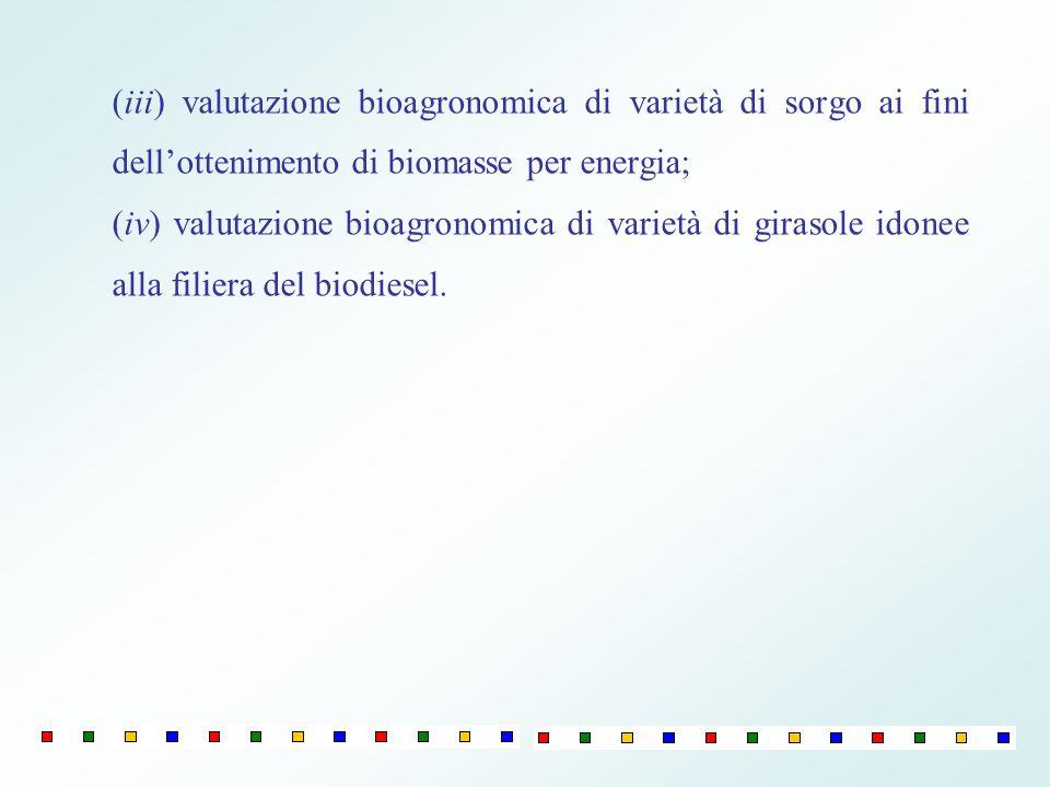 (iii) valutazione bioagronomica di varietà di sorgo ai fini dellottenimento di biomasse per energia; (iv) valutazione bioagronomica di varietà di gira