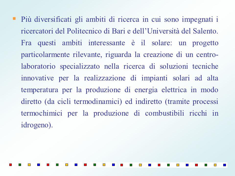 Più diversificati gli ambiti di ricerca in cui sono impegnati i ricercatori del Politecnico di Bari e dellUniversità del Salento. Fra questi ambiti in