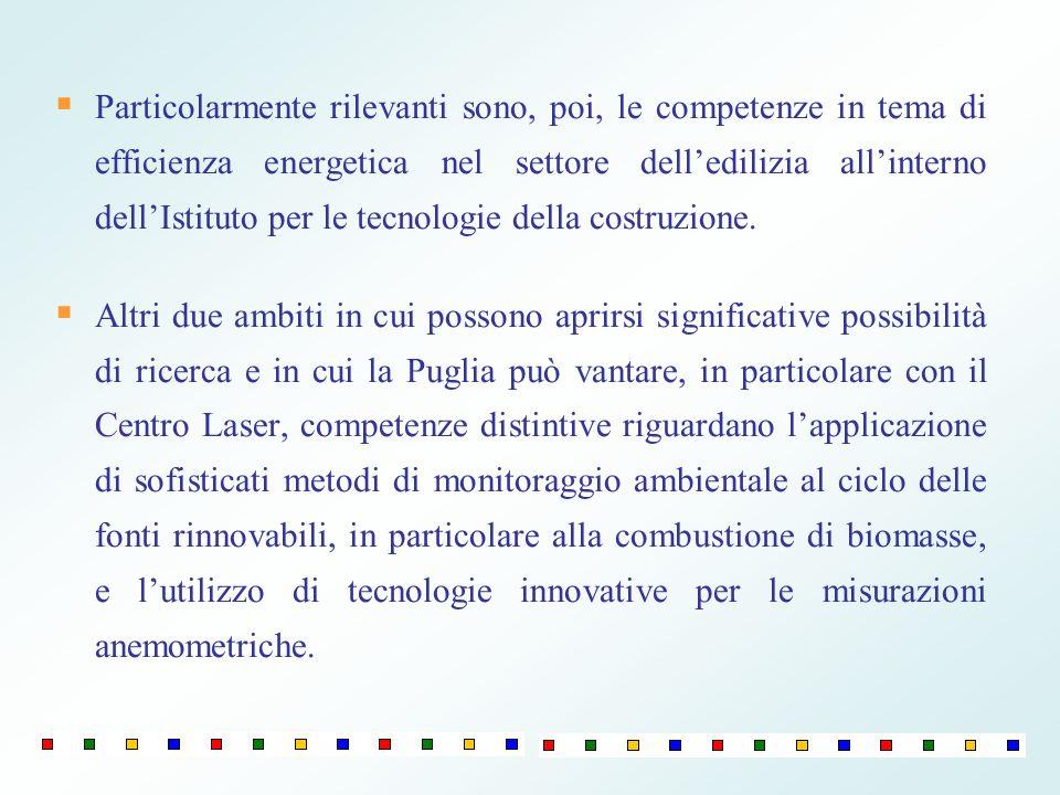 Particolarmente rilevanti sono, poi, le competenze in tema di efficienza energetica nel settore delledilizia allinterno dellIstituto per le tecnologie