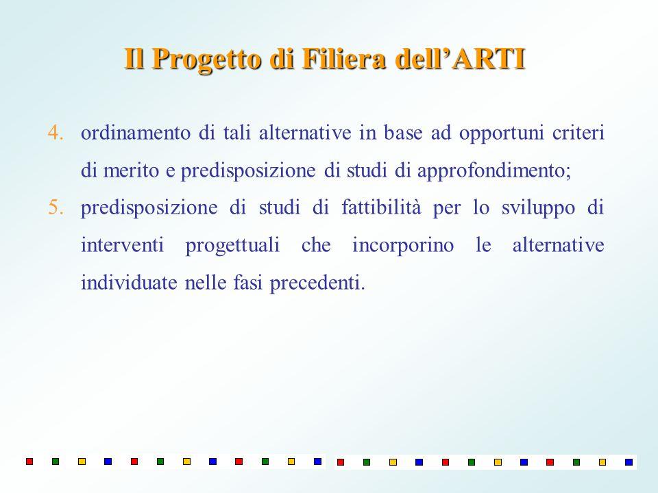 4.ordinamento di tali alternative in base ad opportuni criteri di merito e predisposizione di studi di approfondimento; 5.predisposizione di studi di
