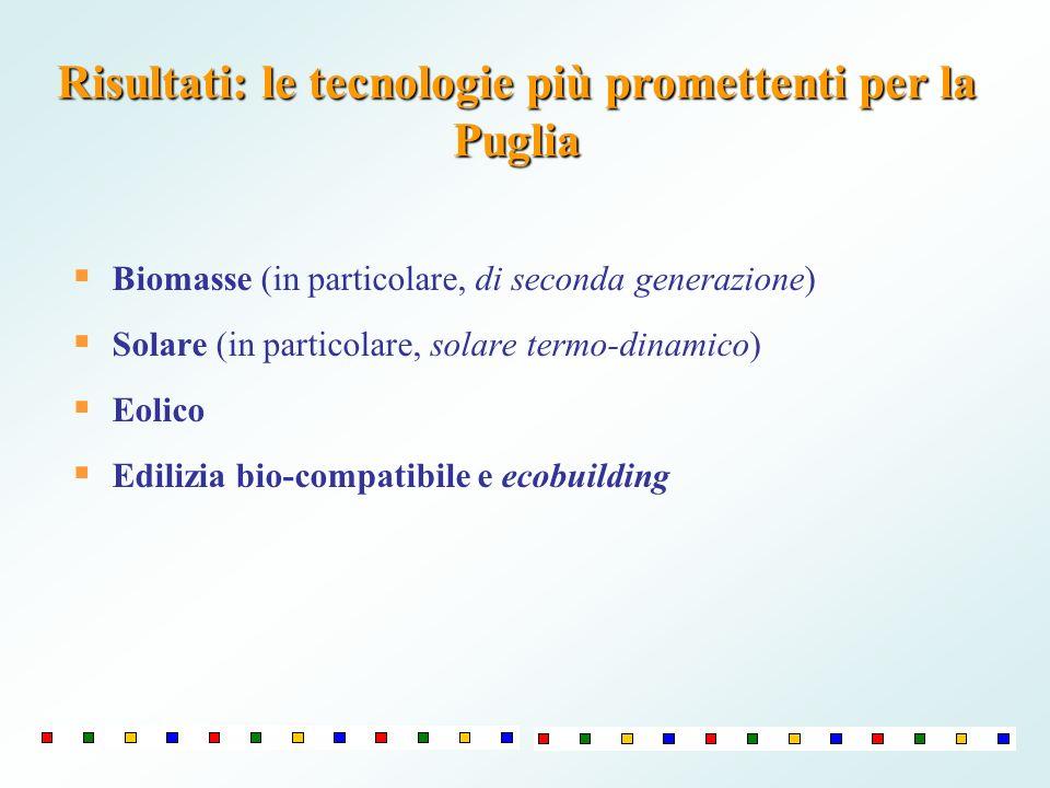 Biomasse (in particolare, di seconda generazione) Solare (in particolare, solare termo-dinamico) Eolico Edilizia bio-compatibile e ecobuilding Risulta