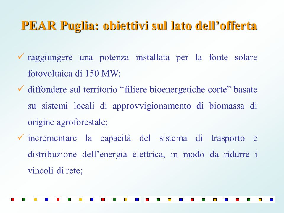 PEAR Puglia: obiettivi sul lato dellofferta raggiungere una potenza installata per la fonte solare fotovoltaica di 150 MW; diffondere sul territorio f
