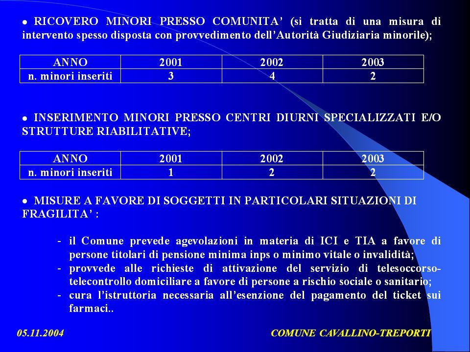 05.11.2004COMUNE CAVALLINO-TREPORTI Alcuni dati a titolo esemplificativo: n.