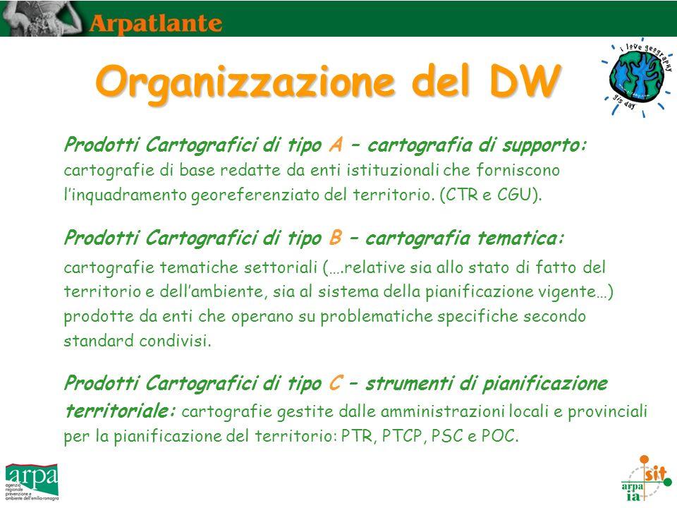 Organizzazione del DW Prodotti Cartografici di tipo A – cartografia di supporto: cartografie di base redatte da enti istituzionali che forniscono linquadramento georeferenziato del territorio.
