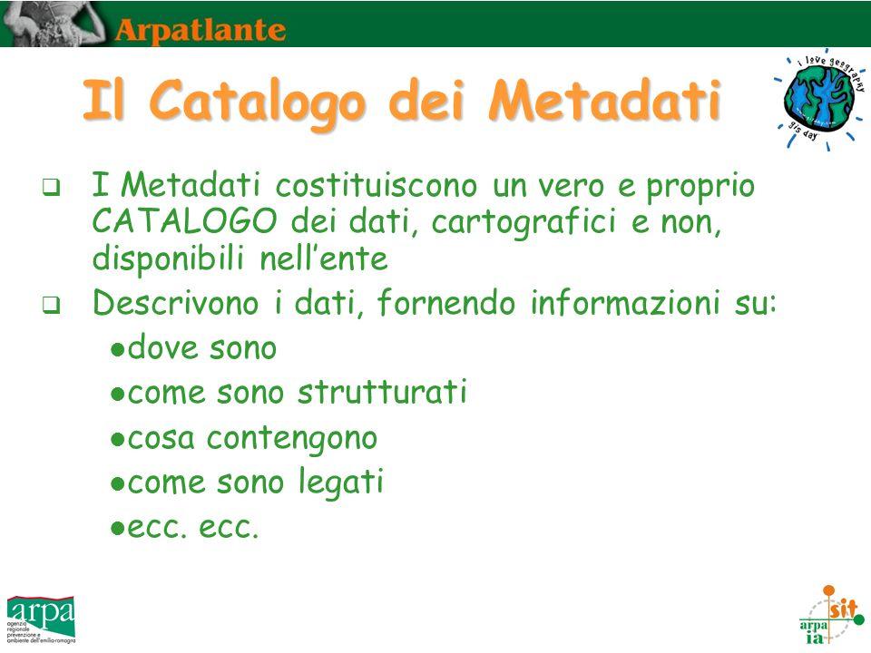 Il Catalogo dei Metadati I Metadati costituiscono un vero e proprio CATALOGO dei dati, cartografici e non, disponibili nellente Descrivono i dati, fornendo informazioni su: dove sono come sono strutturati cosa contengono come sono legati ecc.