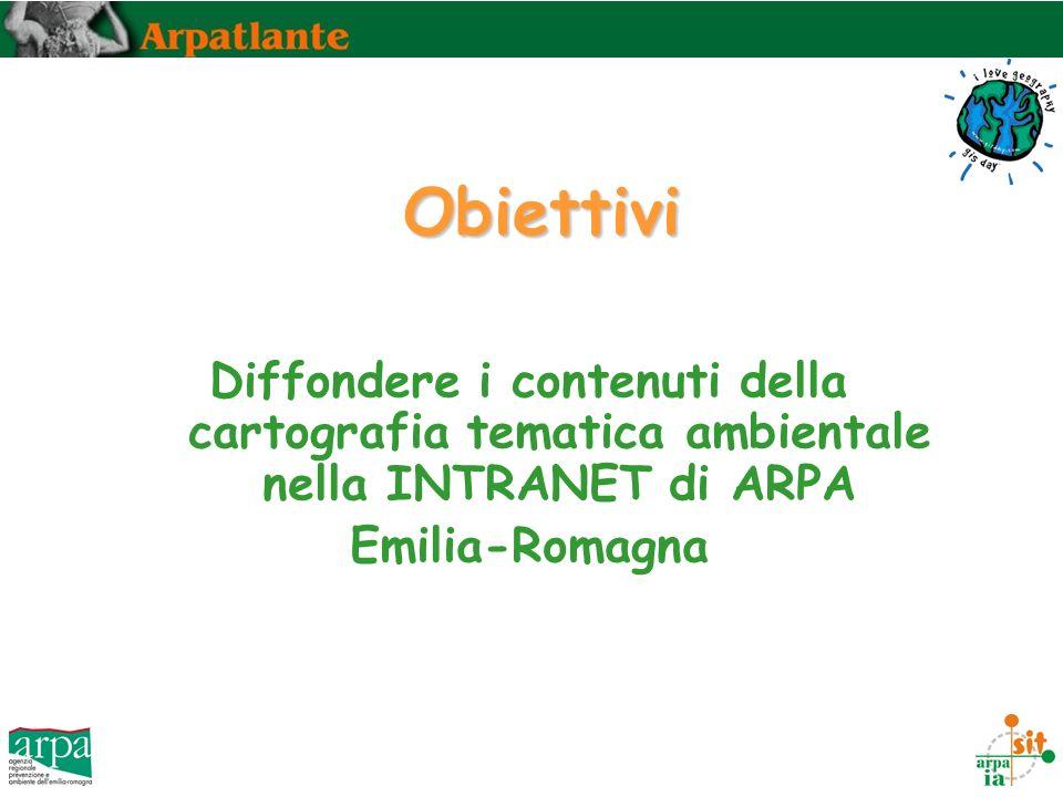 Obiettivi Diffondere i contenuti della cartografia tematica ambientale nella INTRANET di ARPA Emilia-Romagna