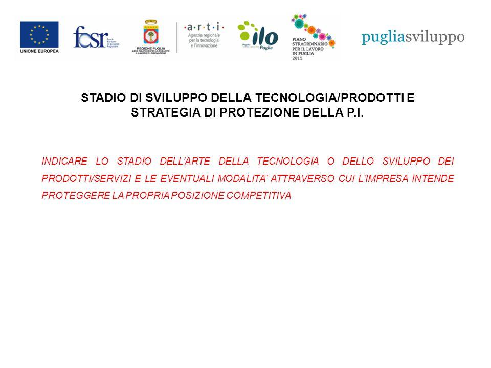 STADIO DI SVILUPPO DELLA TECNOLOGIA/PRODOTTI E STRATEGIA DI PROTEZIONE DELLA P.I.