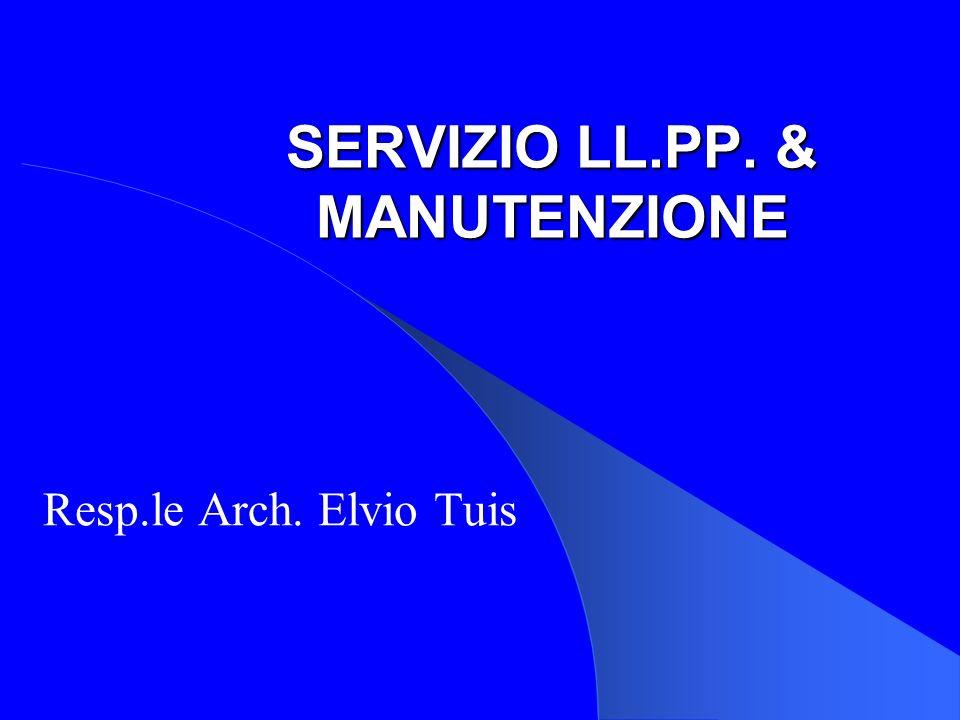 SERVIZIO LL.PP. & MANUTENZIONE Resp.le Arch. Elvio Tuis