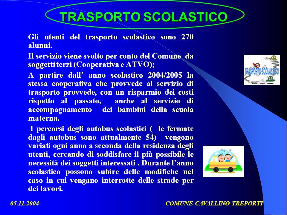 05.11.2004COMUNE CAVALLINO-TREPORTI TRASPORTO SCOLASTICO TRASPORTO SCOLASTICO Gli utenti del trasporto scolastico sono 270 alunni. Il servizio viene s