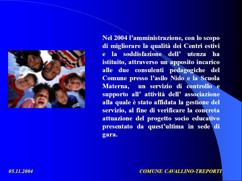 05.11.2004COMUNE CAVALLINO-TREPORTI Nel 2004 lamministrazione, con lo scopo di migliorare la qualità dei Centri estivi e la soddisfazione dell utenza