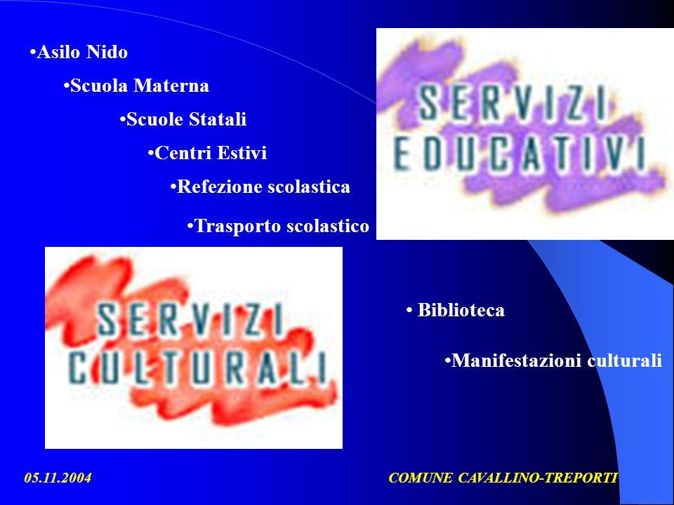 05.11.2004COMUNE CAVALLINO-TREPORTI Biblioteca Manifestazioni culturali Asilo Nido Scuola Materna Scuole Statali Refezione scolastica Trasporto scolas