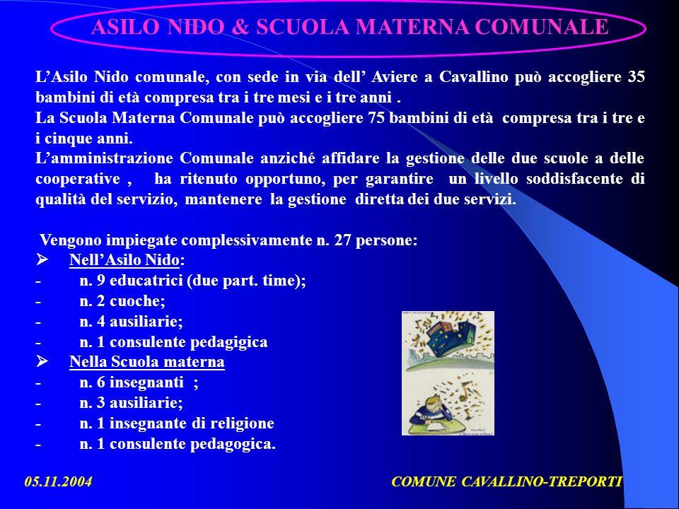 05.11.2004COMUNE CAVALLINO-TREPORTI LAsilo Nido comunale, con sede in via dell Aviere a Cavallino può accogliere 35 bambini di età compresa tra i tre mesi e i tre anni.