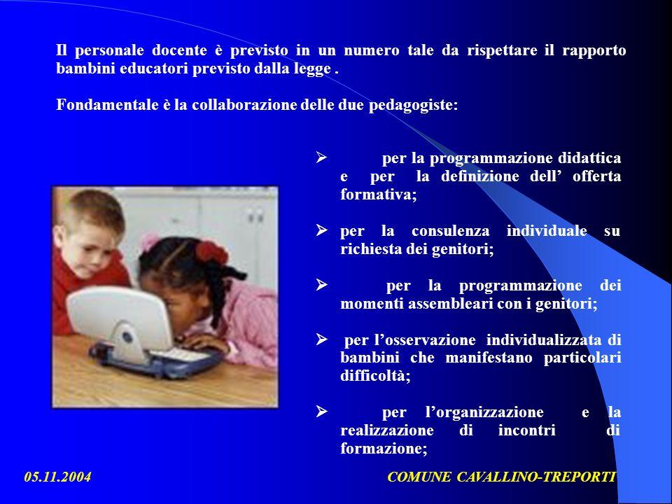 05.11.2004COMUNE CAVALLINO-TREPORTI per la programmazione didattica e per la definizione dell offerta formativa; per la consulenza individuale su rich