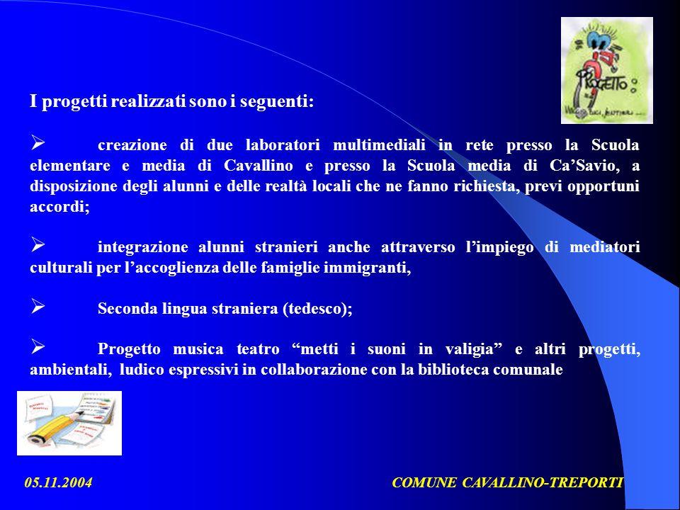 05.11.2004COMUNE CAVALLINO-TREPORTI I progetti realizzati sono i seguenti: creazione di due laboratori multimediali in rete presso la Scuola elementar