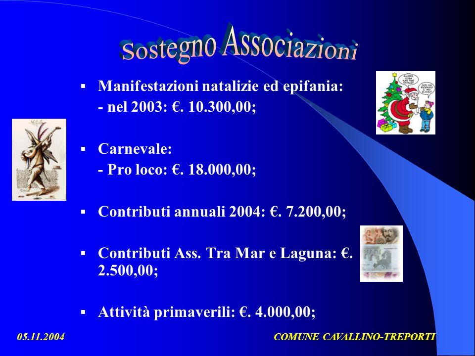 05.11.2004COMUNE CAVALLINO-TREPORTI Manifestazioni natalizie ed epifania: - nel 2003:.
