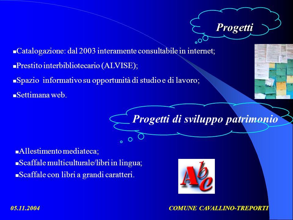 05.11.2004COMUNE CAVALLINO-TREPORTI Progetti Catalogazione: dal 2003 interamente consultabile in internet; Prestito interbibliotecario (ALVISE); Spazio informativo su opportunità di studio e di lavoro; Settimana web.