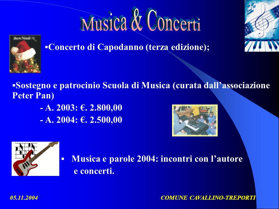 05.11.2004COMUNE CAVALLINO-TREPORTI Musica e parole 2004: incontri con lautore e concerti.