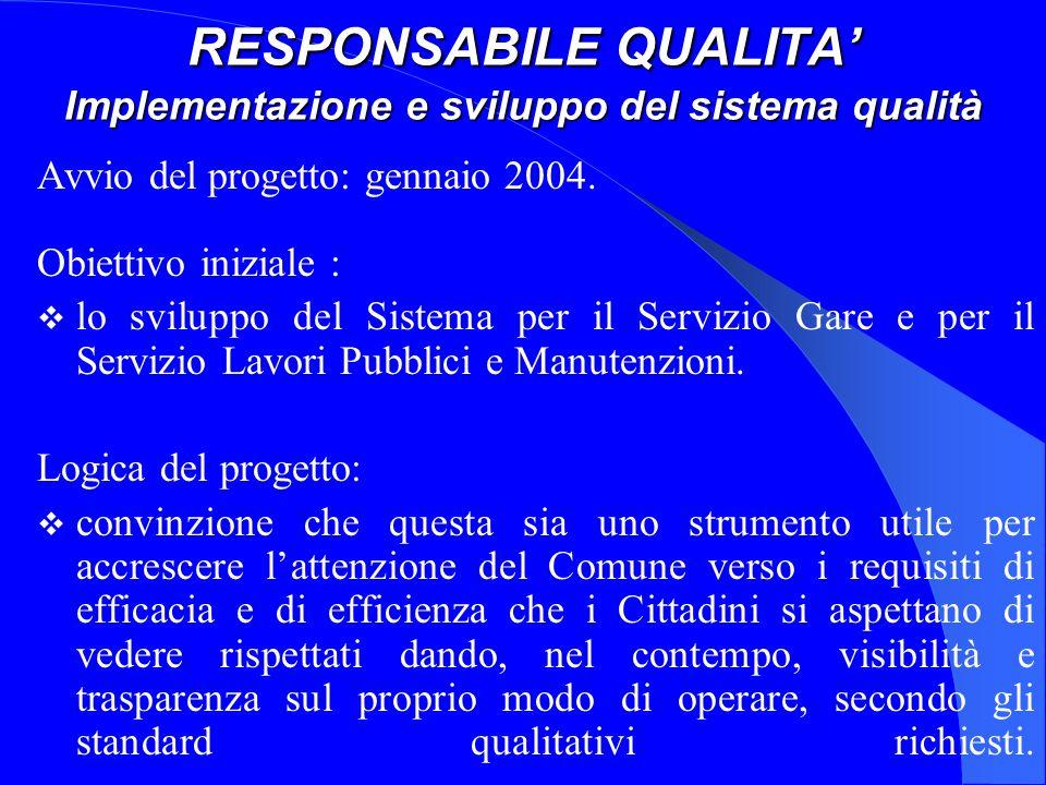 RESPONSABILE QUALITA Implementazione e sviluppo del sistema qualità Avvio del progetto: gennaio 2004.