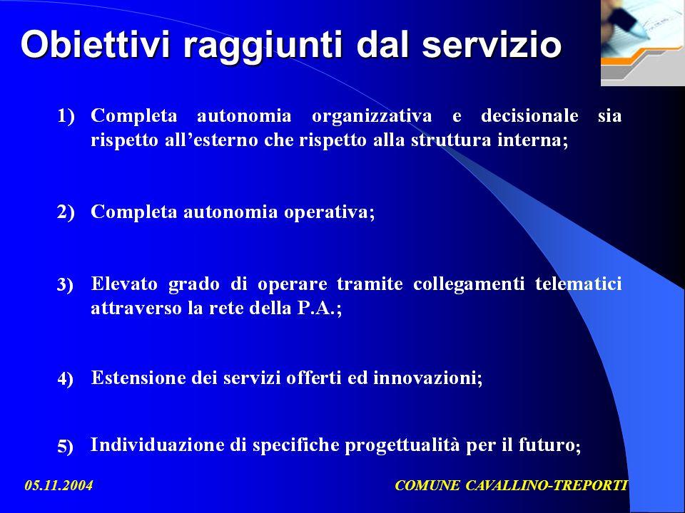 05.11.2004COMUNE CAVALLINO-TREPORTI Obiettivi raggiunti dal servizio
