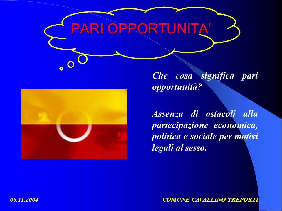 05.11.2004COMUNE CAVALLINO-TREPORTI PARI OPPORTUNITA Che cosa significa pari opportunità? Assenza di ostacoli alla partecipazione economica, politica