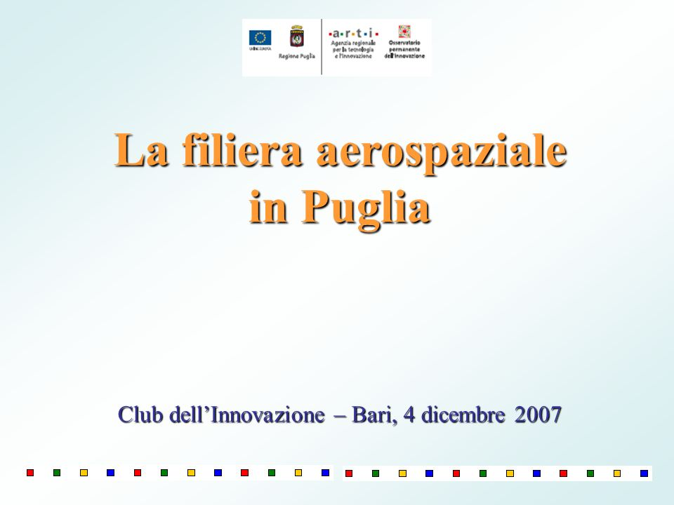 La filiera aerospaziale in Puglia Club dellInnovazione – Bari, 4 dicembre 2007