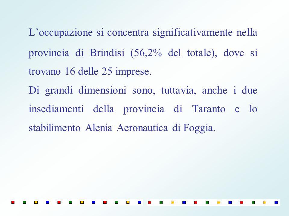 Loccupazione si concentra significativamente nella provincia di Brindisi (56,2% del totale), dove si trovano 16 delle 25 imprese.