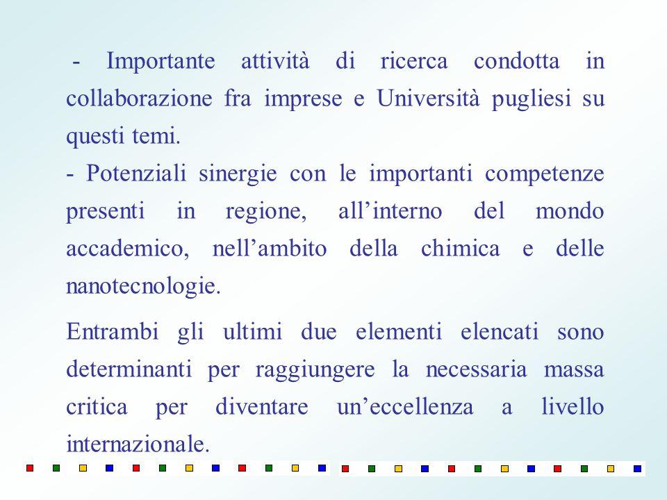 - Importante attività di ricerca condotta in collaborazione fra imprese e Università pugliesi su questi temi.