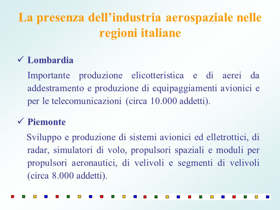 Lazio Realizzazione di lanciatori, satelliti, sistemi di bordo, avionica (comparto spaziale); componentistica e realizzazione di strutture dei velivoli (comparto aeronautico) (circa 8.000 addetti).