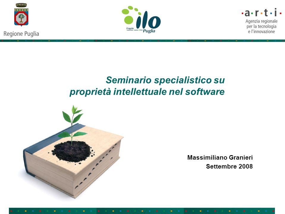 Seminario specialistico su proprietà intellettuale nel software Massimiliano Granieri Settembre 2008
