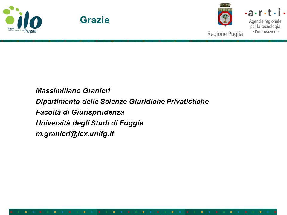 Grazie Massimiliano Granieri Dipartimento delle Scienze Giuridiche Privatistiche Facoltà di Giurisprudenza Università degli Studi di Foggia m.granieri@lex.unifg.it