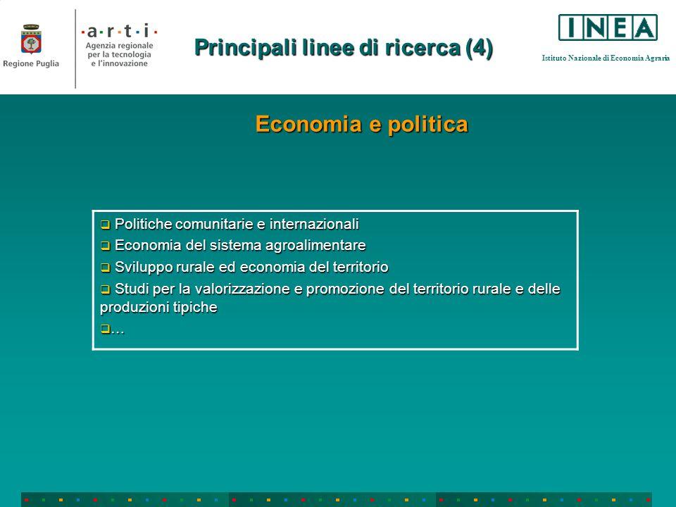 Istituto Nazionale di Economia Agraria Principali linee di ricerca (4) Politiche comunitarie e internazionali Politiche comunitarie e internazionali E