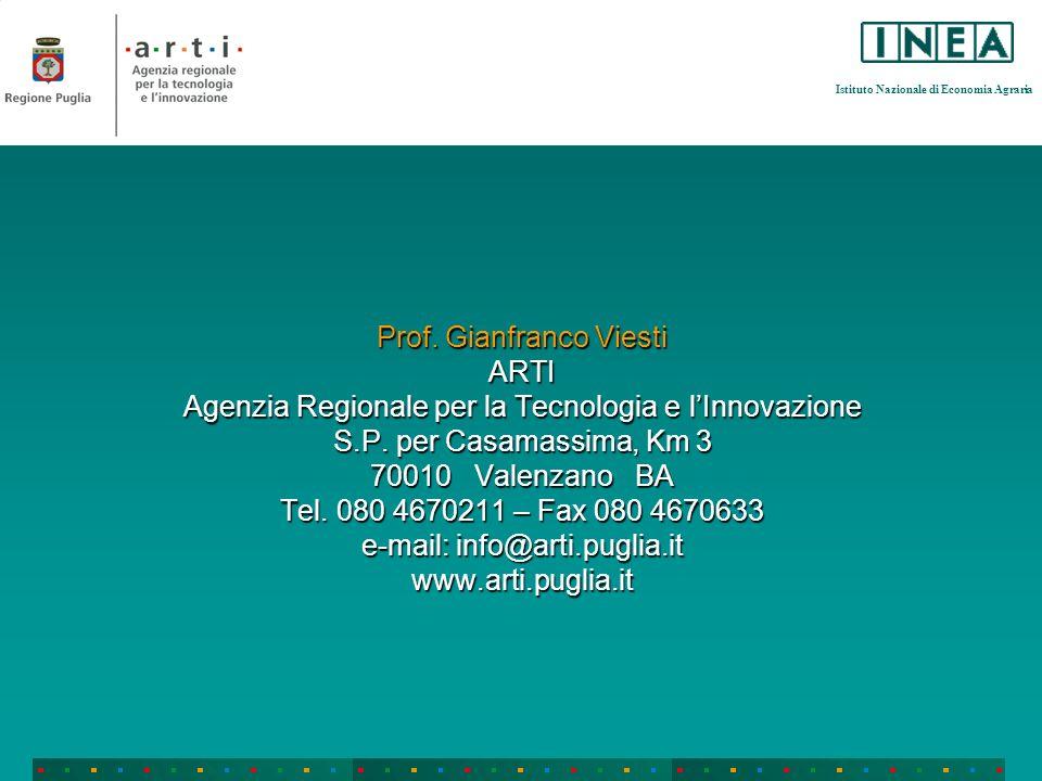 Istituto Nazionale di Economia Agraria Prof. Gianfranco Viesti ARTI Agenzia Regionale per la Tecnologia e lInnovazione S.P. per Casamassima, Km 3 7001