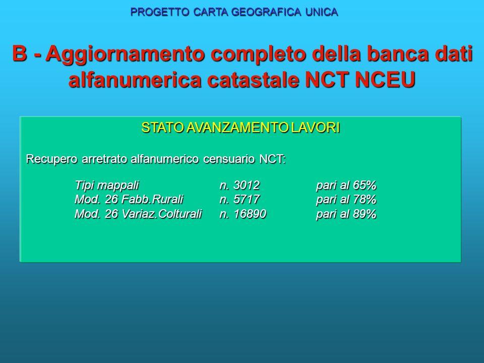 B - Aggiornamento completo della banca dati alfanumerica catastale NCT NCEU PROGRAMMA LAVORI NCT : aggiornamento di tutti gli atti e recupero arretrat