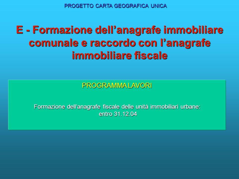 E - Formazione dellanagrafe immobiliare comunale e raccordo con lanagrafe immobiliare fiscale PROGRAMMA LAVORI Formazione dellanagrafe fiscale delle u