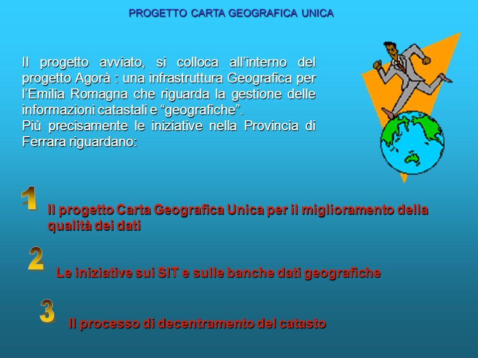 Il progetto avviato, si colloca allinterno del progetto Agorà : una infrastruttura Geografica per lEmilia Romagna che riguarda la gestione delle infor