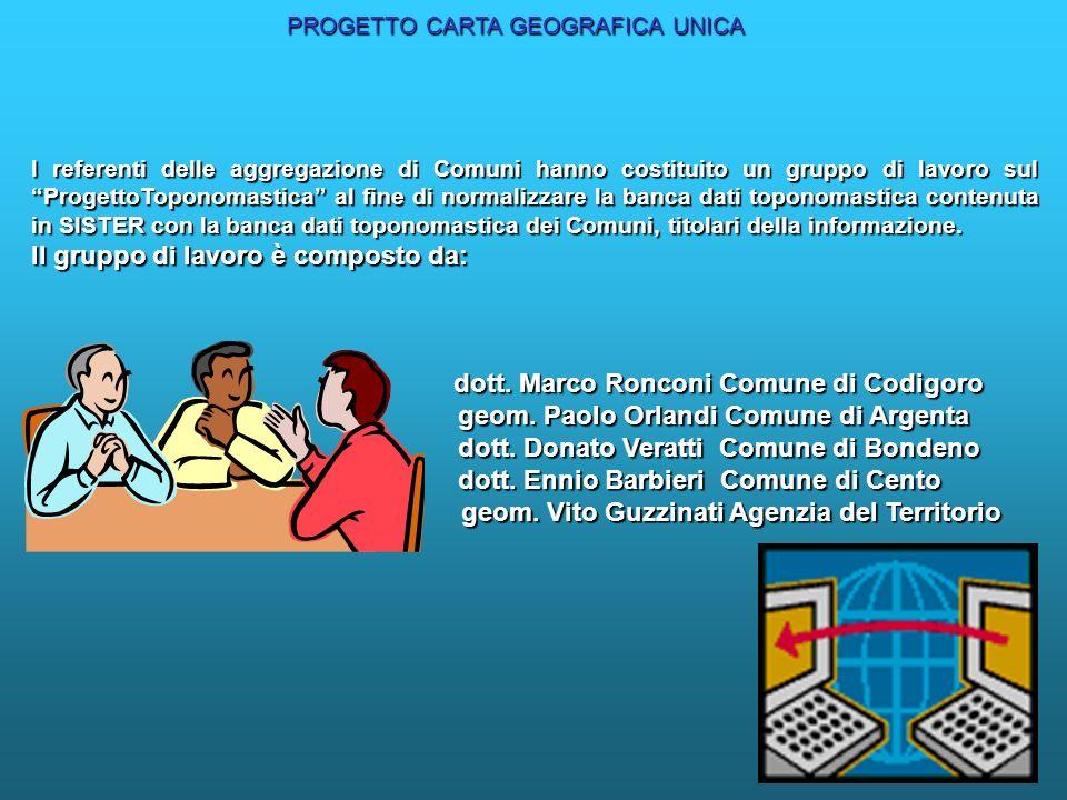 I referenti delle aggregazione di Comuni hanno costituito un gruppo di lavoro sul ProgettoToponomastica al fine di normalizzare la banca dati toponomastica contenuta in SISTER con la banca dati toponomastica dei Comuni, titolari della informazione.