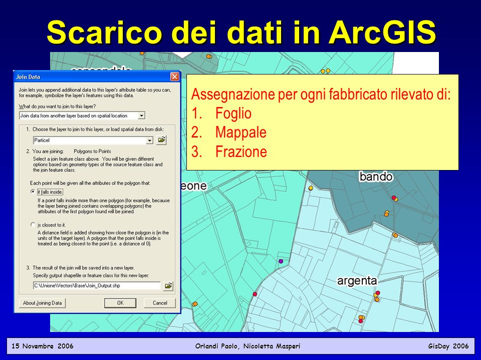 15 Novembre 2006 Orlandi Paolo, Nicoletta Masperi GisDay 2006 Scarico dei dati in ArcGIS Assegnazione per ogni fabbricato rilevato di: 1. 1.Foglio 2.