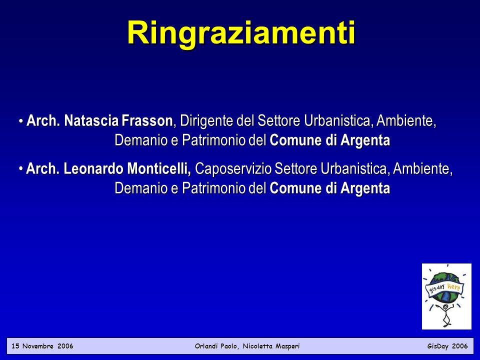 15 Novembre 2006 Orlandi Paolo, Nicoletta Masperi GisDay 2006 Ringraziamenti Arch. Natascia Frasson, Dirigente del Settore Urbanistica, Ambiente, Dema