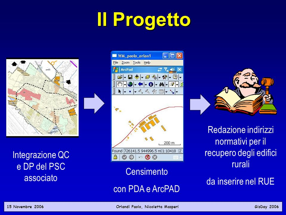 15 Novembre 2006 Orlandi Paolo, Nicoletta Masperi GisDay 2006 Il Progetto Integrazione QC e DP del PSC associato Redazione indirizzi normativi per il