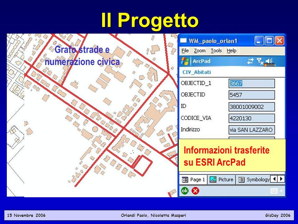 Il Progetto Mappa Catastale Grafo strade e numerazione civica 15 Novembre 2006 Orlandi Paolo, Nicoletta Masperi GisDay 2006 Informazioni trasferite su