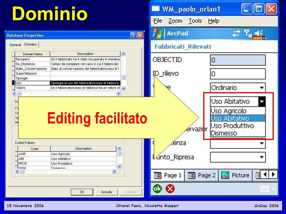 Dominio 15 Novembre 2006 Orlandi Paolo, Nicoletta Masperi GisDay 2006 Dichiarazioni di valori accettabili per un attributo Valori ammessi per il campo