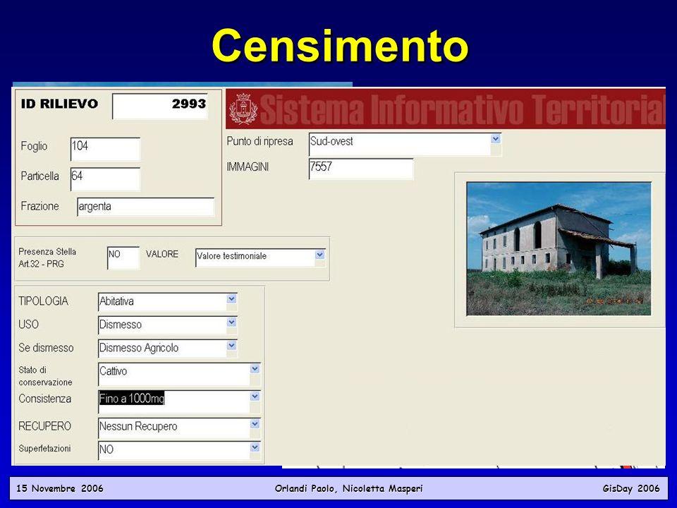 15 Novembre 2006 Orlandi Paolo, Nicoletta Masperi GisDay 2006 Censimento