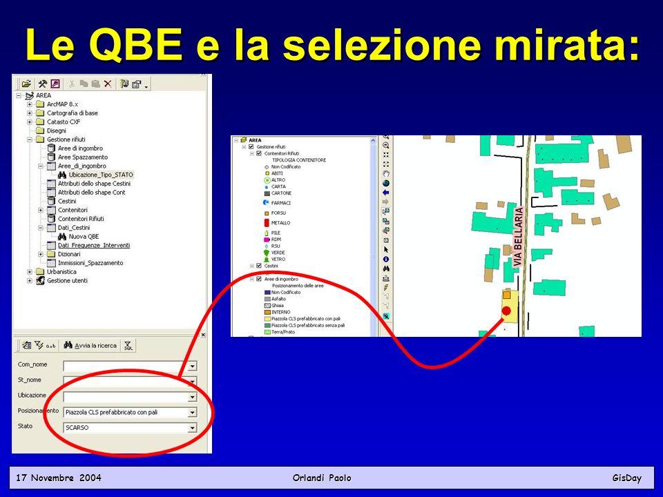 17 Novembre 2004 Orlandi PaoloGisDay Le QBE e la selezione mirata: