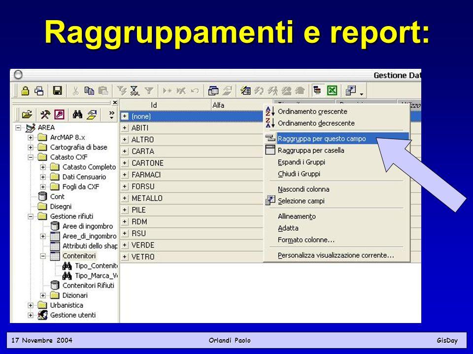 17 Novembre 2004 Orlandi PaoloGisDay Raggruppamenti e report: