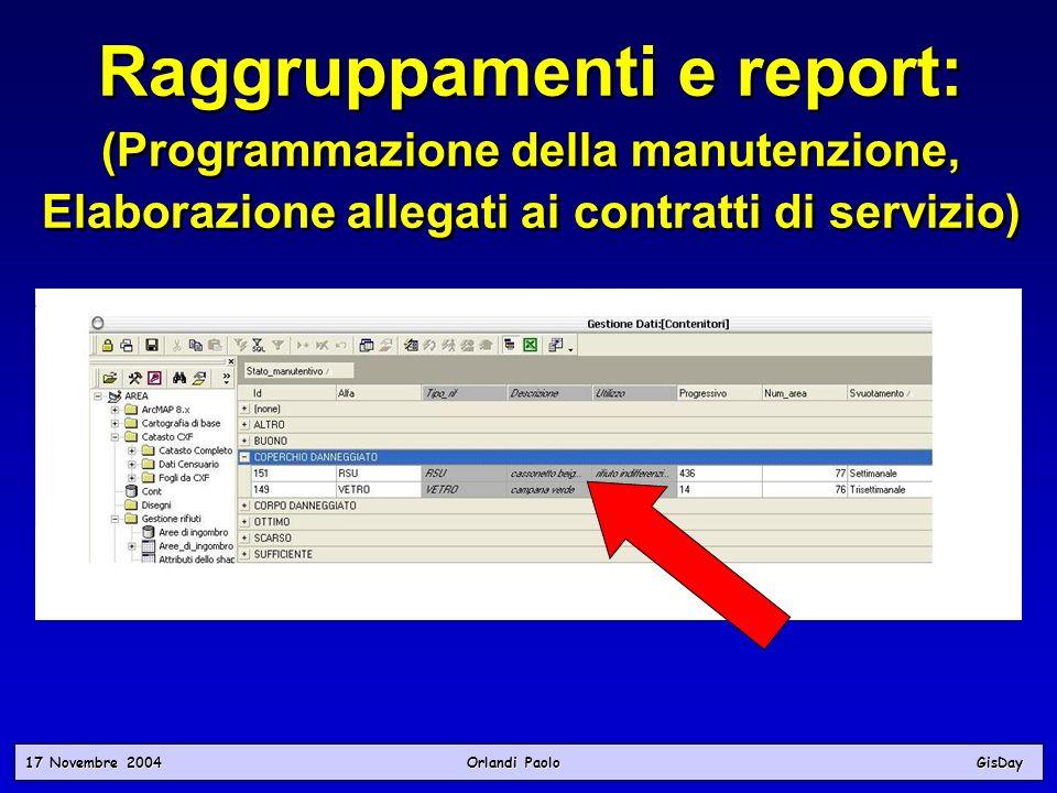 17 Novembre 2004 Orlandi PaoloGisDay Raggruppamenti e report: (Programmazione della manutenzione, Elaborazione allegati ai contratti di servizio) Ragg