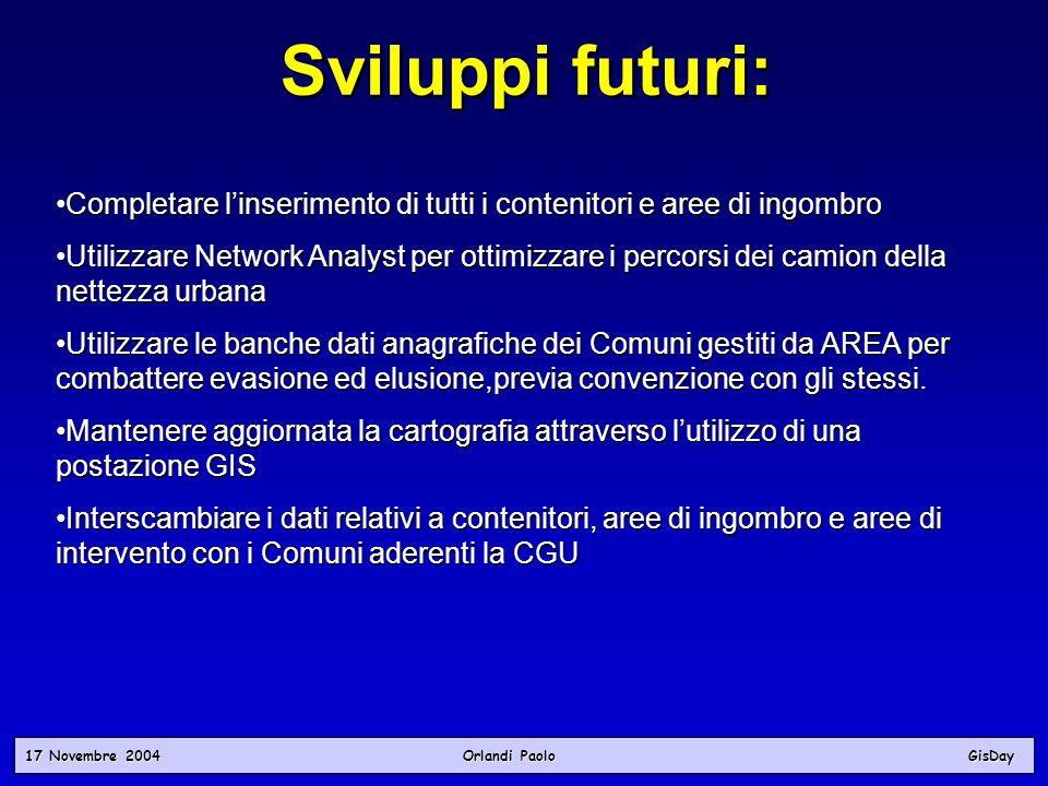 17 Novembre 2004 Orlandi PaoloGisDay Sviluppi futuri: Completare linserimento di tutti i contenitori e aree di ingombroCompletare linserimento di tutt