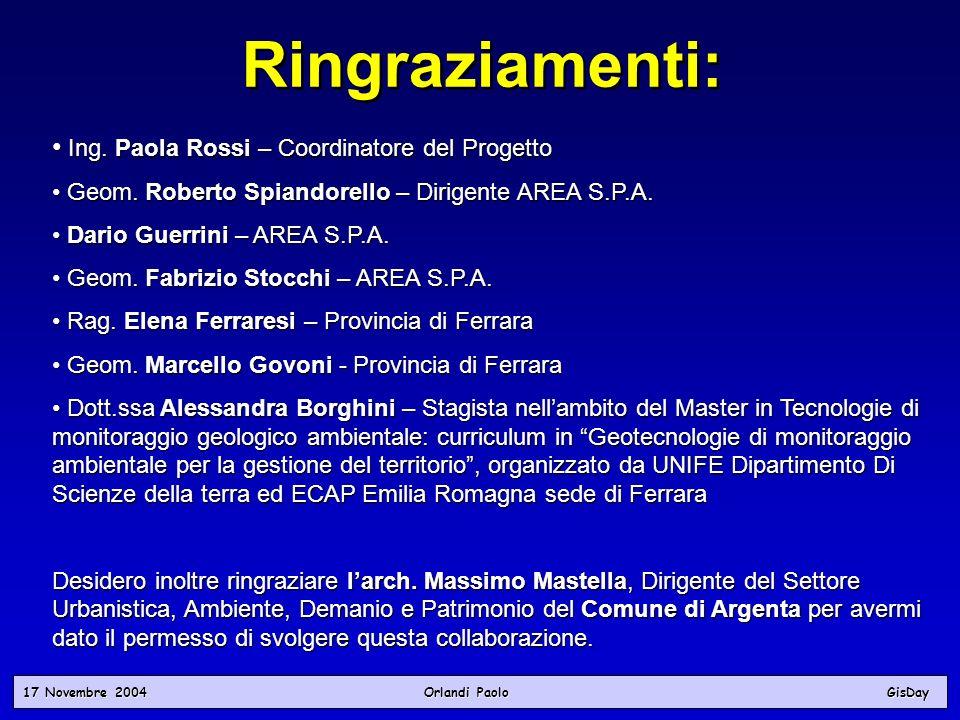 17 Novembre 2004 Orlandi PaoloGisDay Ringraziamenti: Ing. Paola Rossi – Coordinatore del Progetto Ing. Paola Rossi – Coordinatore del Progetto Geom. R